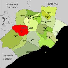 Situación de Sella en La Marina Baixa >(Alicante).